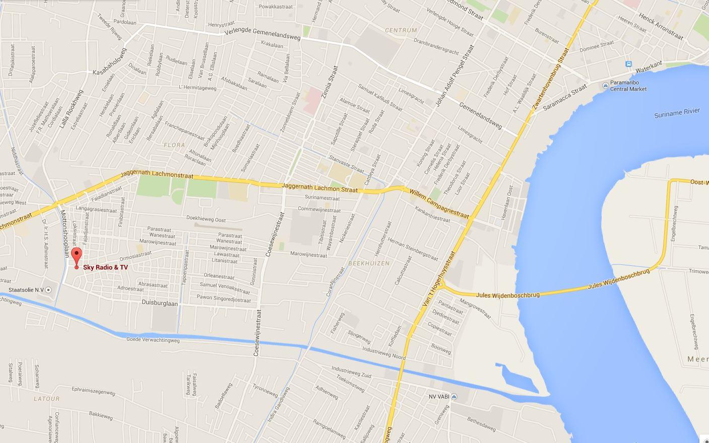 Kaart van Paramaribo