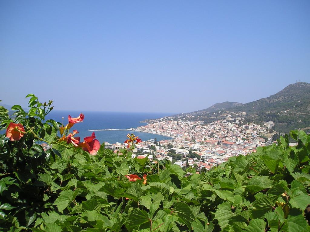 Uitzicht op de hoofdstad van Samos