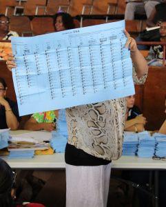 De biljetten worden aan de aanwezigen getoond